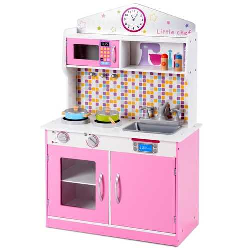Kids Wooden Pretend Cooking Play Kitchen Set