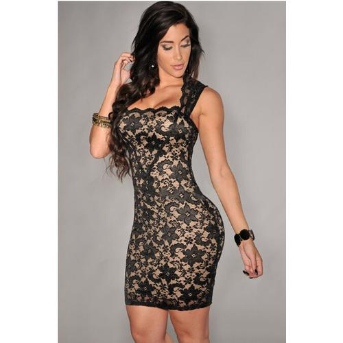 Embroidered Lace Nude Illusion Dress