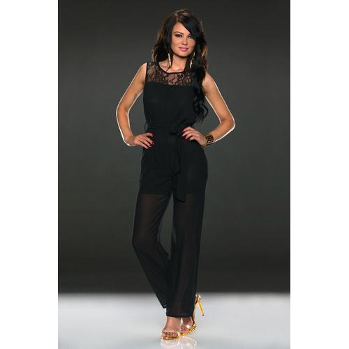 Lace Sleeveless Jumpsuit with A Belt
