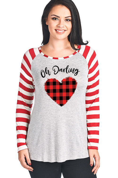 OH DARLING W/BUFFALO PLAID HEART DESIGN STRIPED