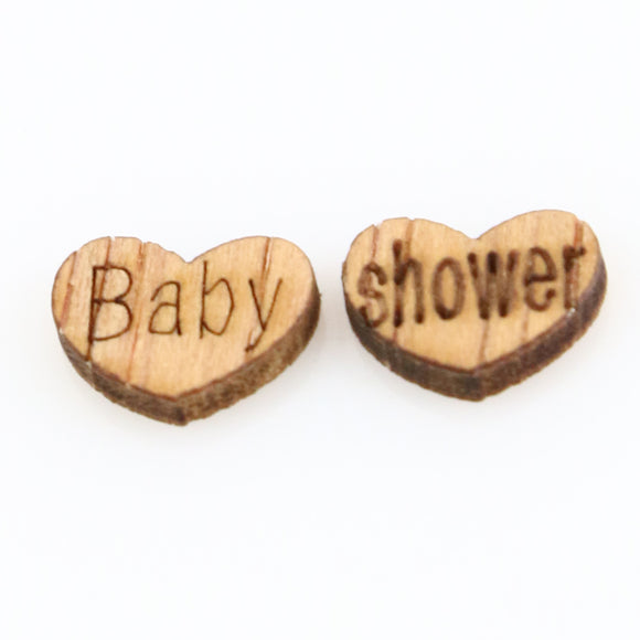 100 Pcs Wooden Heart Baby Shower Confetti