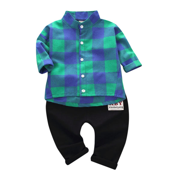 2Pcs Kids Plaid Print Tops + Pants