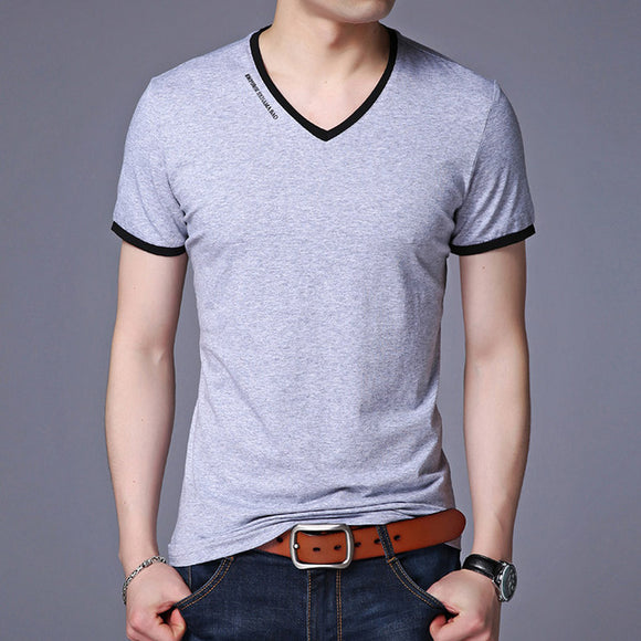 V-Neck Slim Fit Short Sleeve Casual T-Shirt