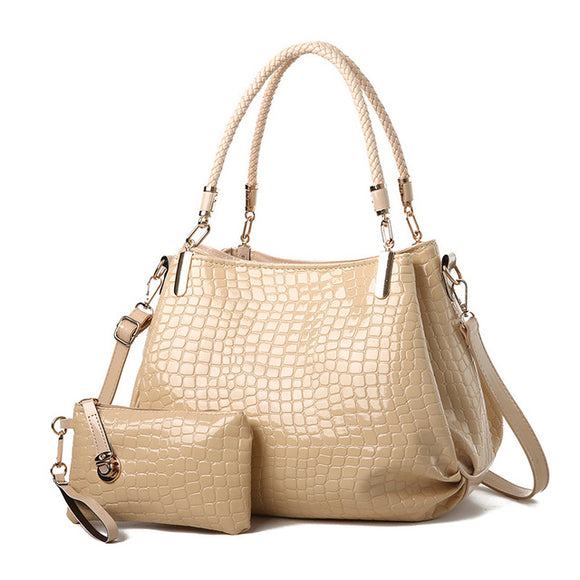 Two Sets Alligator Washed Leather Hobo