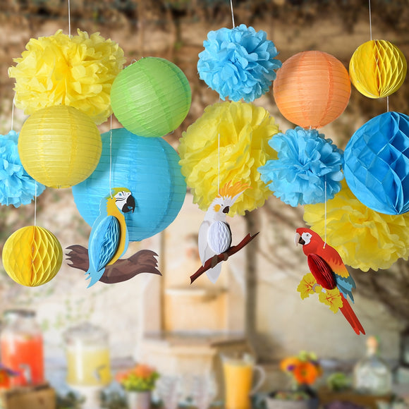 Pack of 16 Honeycomb Parrots and Pom POM Lanterns Set