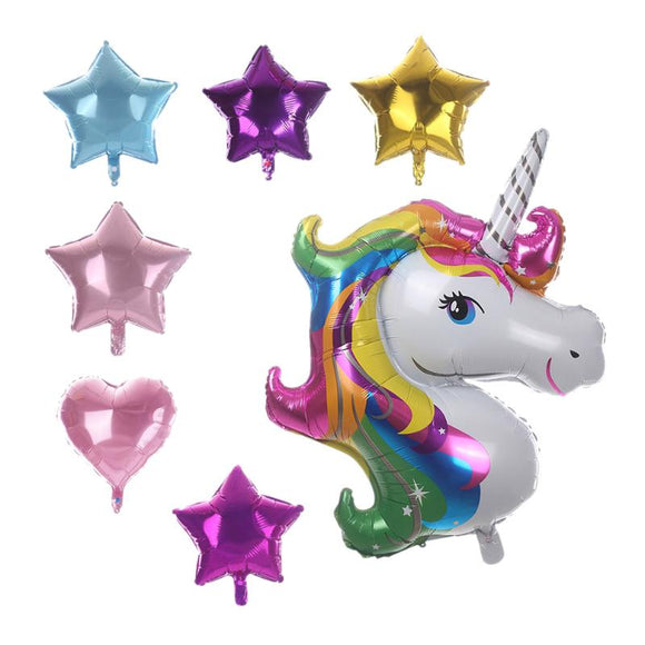 7pcs/set Unicorn Foil Balloons