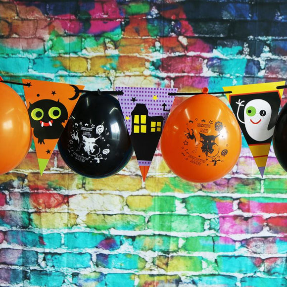 Halloween Paper Flag+Balloon Banner
