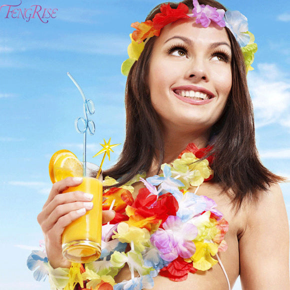 50pcs Luau Hawaiian Artificial Flower Leis