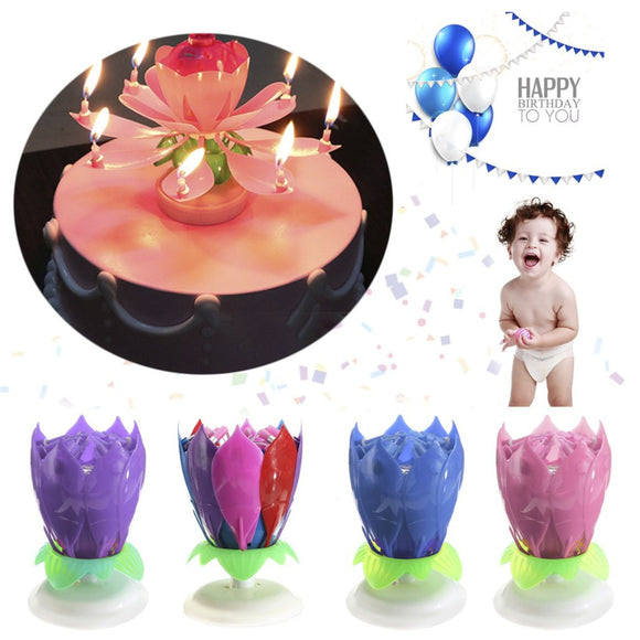 Birthday Candle - Musical Spinning Lotus Flower