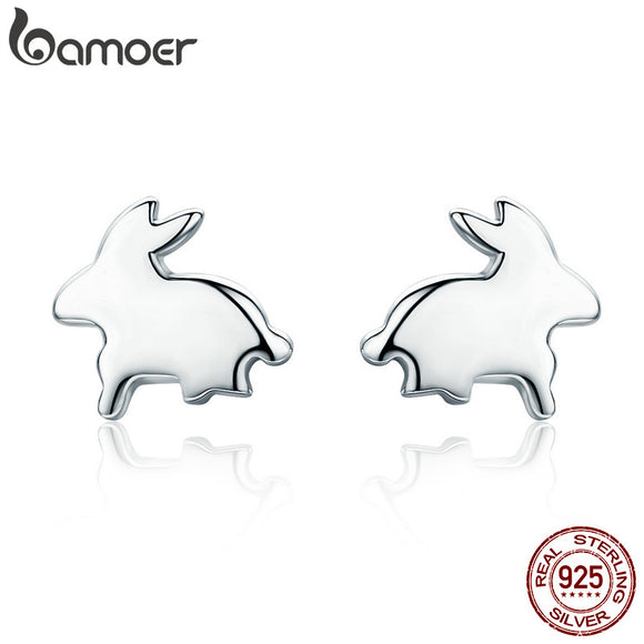 925 Sterling Silver Easter Day Gift Cute Rabbit Small Stud Earrings