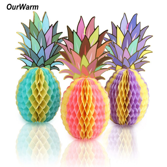Hawaiian Party Decorations 3PCS Paper Hanging Pineapples