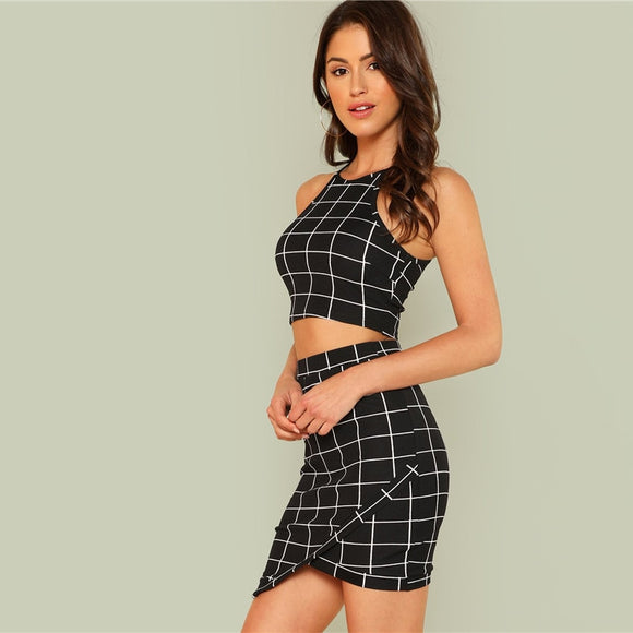 Plaid Grid Crop Halter Top & Wrap Skirt Set