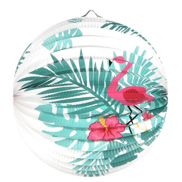 1pc 23cm Palm Leaves Flamingo Printed Accordion Paper Lantern