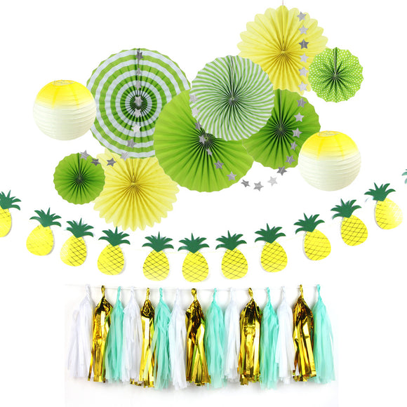 9pcs Summer Party Decoration Kit Pineapple Theme