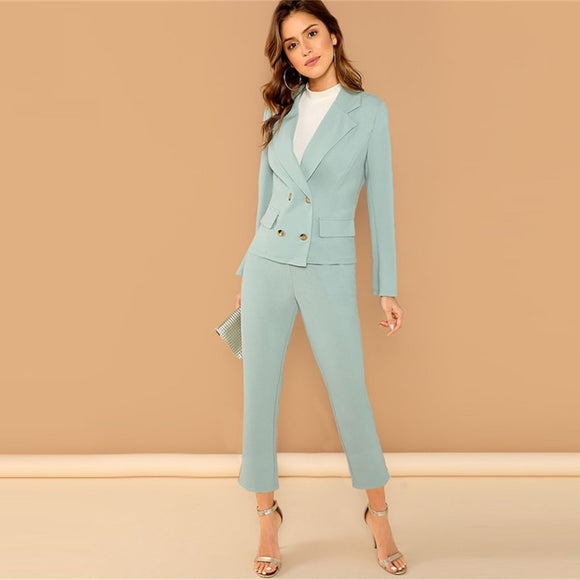 Turquoise Pocket Front Double Breasted Notch Long Sleeve Coat & Pants Set