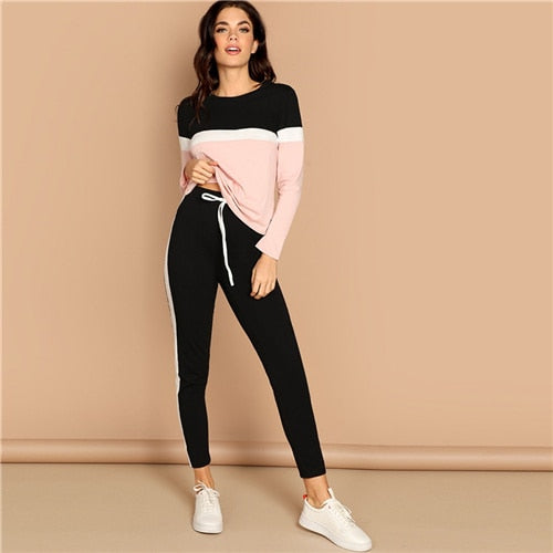 Athleisure Color-Block Top and Drawstring Waist Side Panel Pants