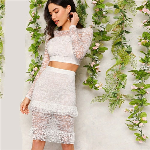 White Trim Lace Crop Top and Skirt Set
