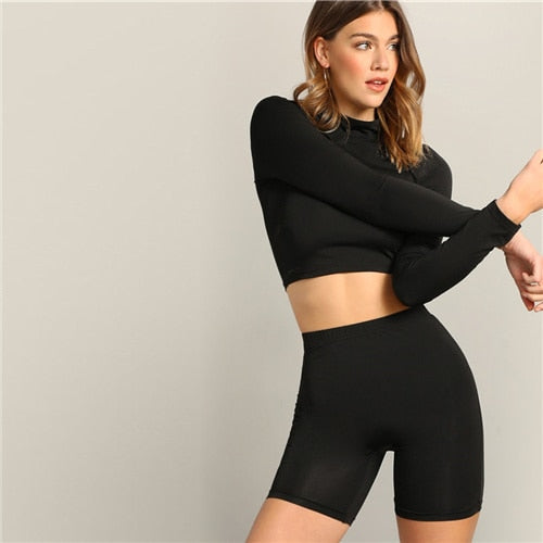 Black Mock-neck Crop Fitted Top And Leggings Shorts Set
