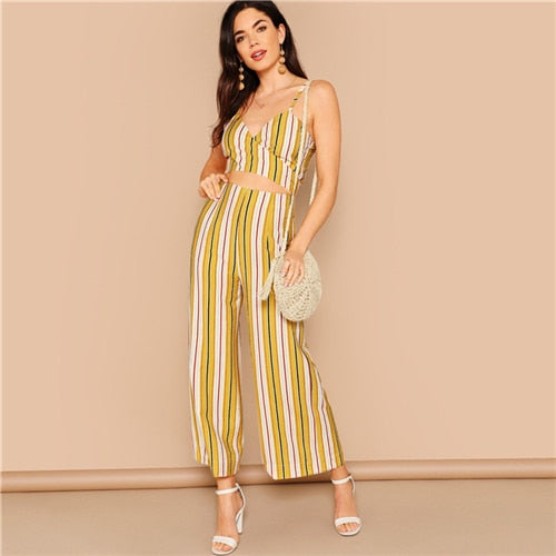 Boho Multicolor Striped Crop Wrap Cami and Wide Leg Pants Set