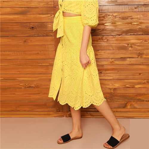 Boho Yellow Off Shoulder Embroidered Eyelet Crop Top and Scallop Edge Buttoned Skirt Set