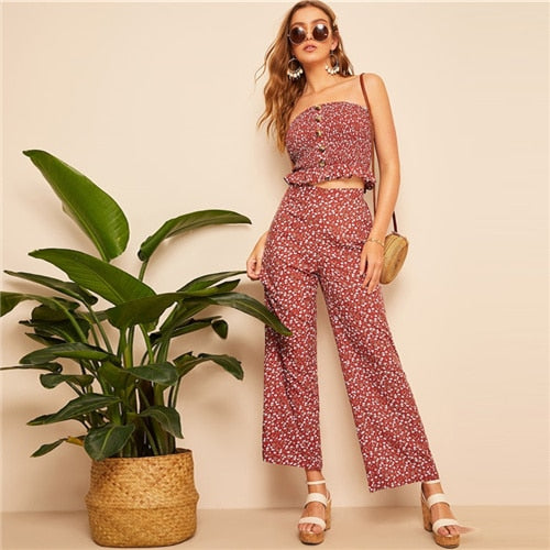 Floral Top And Pants Set
