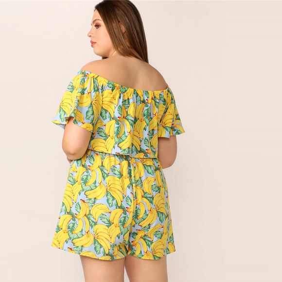 Yellow Off Shoulder Banana Print Flounce Sleeve Crop Top And Shorts Set