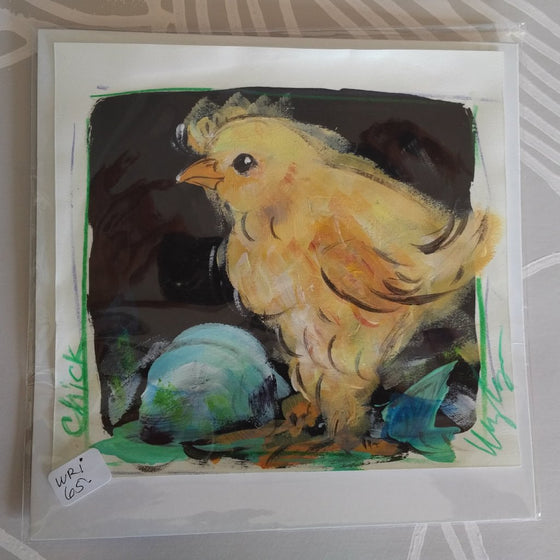 Chick on Paper, Original Painting