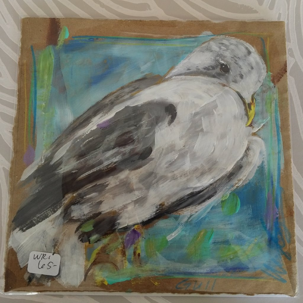Gull on Paper, Original Painting