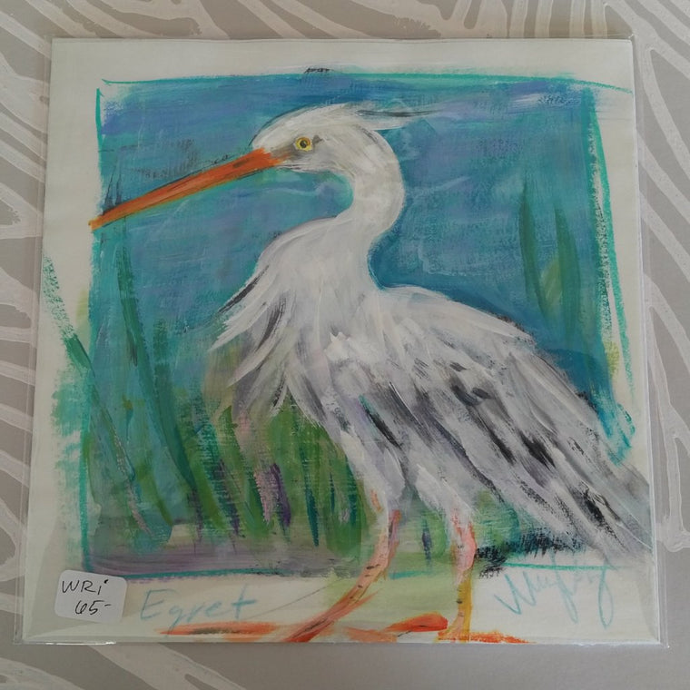 White Egret on Paper, Original Painting