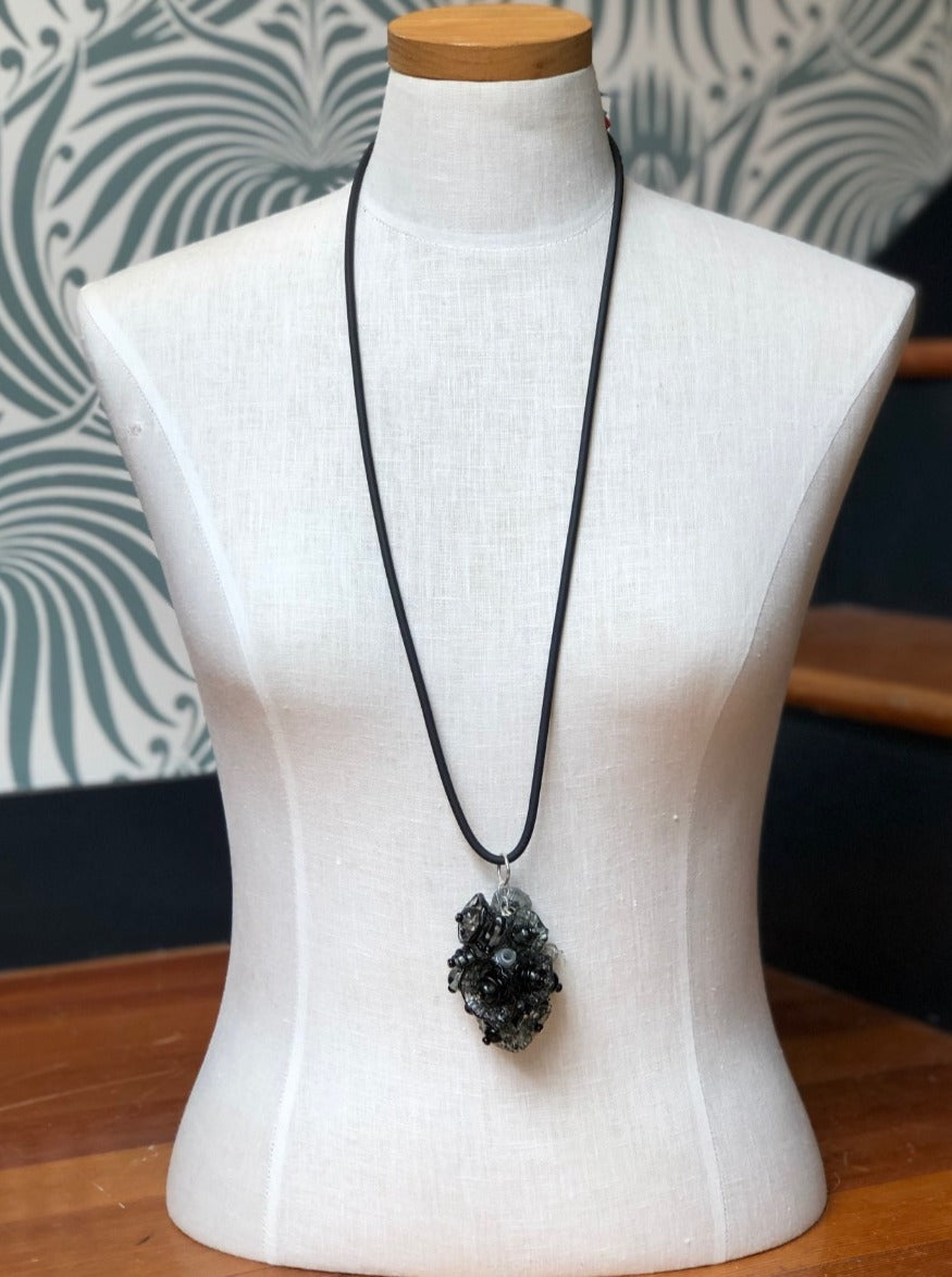 Black Glass Bead Chandelier Necklace