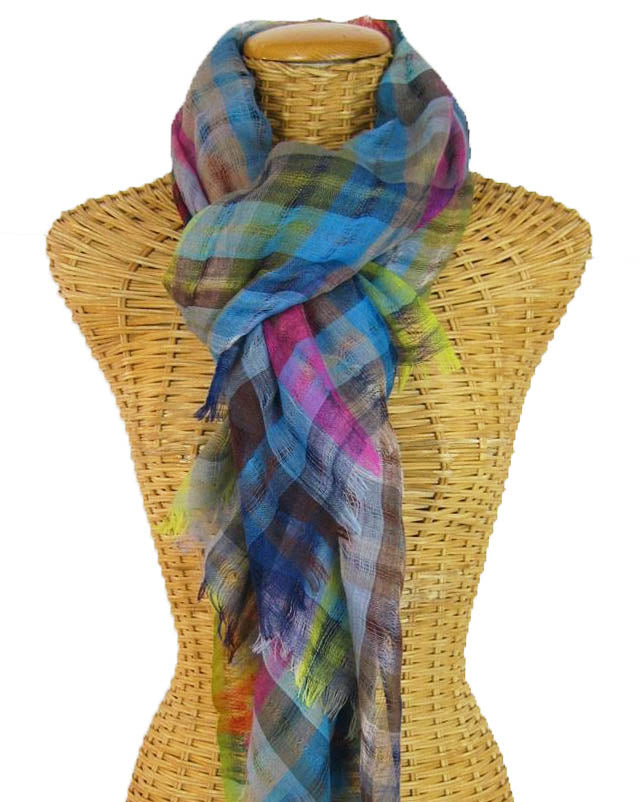 Handloomed 29 Colores Cool Tone Sheer Merino Wool Scarf