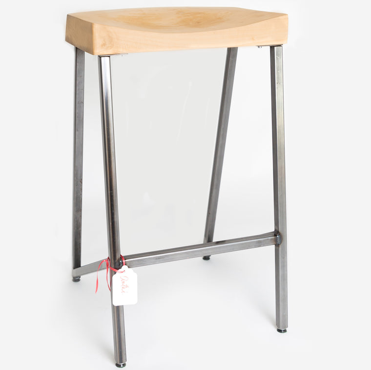 wood stool with welded base