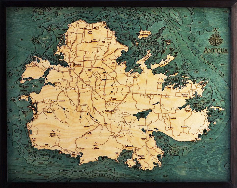Antigua Wood Chart Map