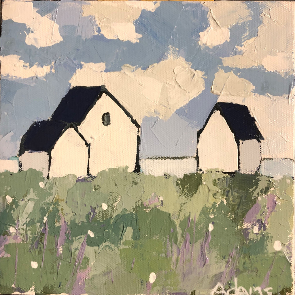 Cottages, Original Painting by Phyllis Dobbyn Adams