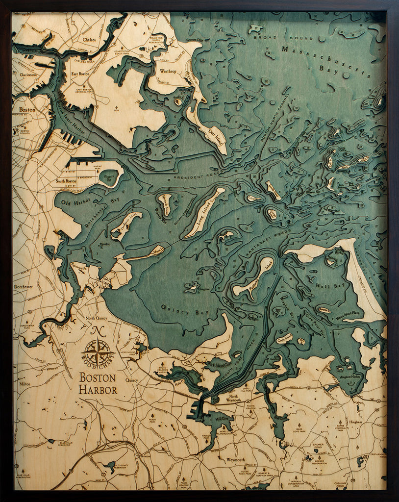Boston Harbor Wood Chart Map