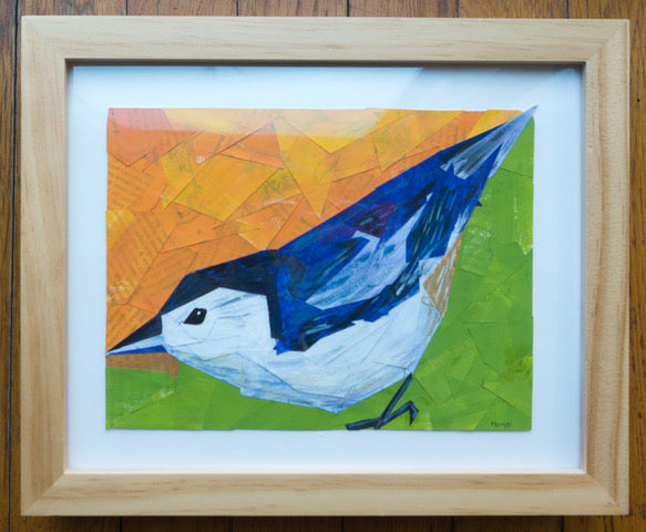 Nuthatch Collage by Margo Connolly-Masson