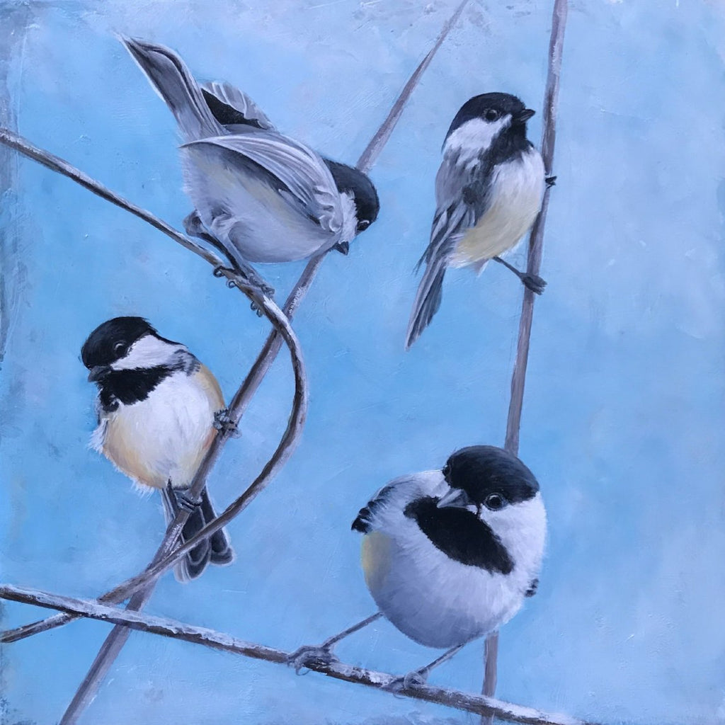 Black Capped Chickadee #3, Original Oil Painting