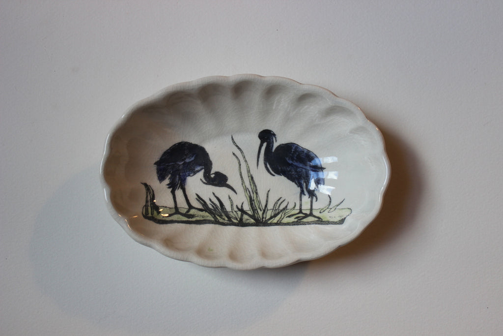 Blue Heron Oval Dish by Craig Crawford