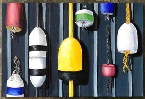 Buoy Buoy on the Wall, Original Painting by Margo Connolly-Masson