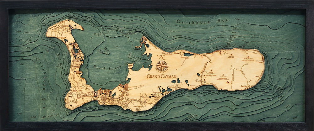 Grand Cayman Wood Chart Map