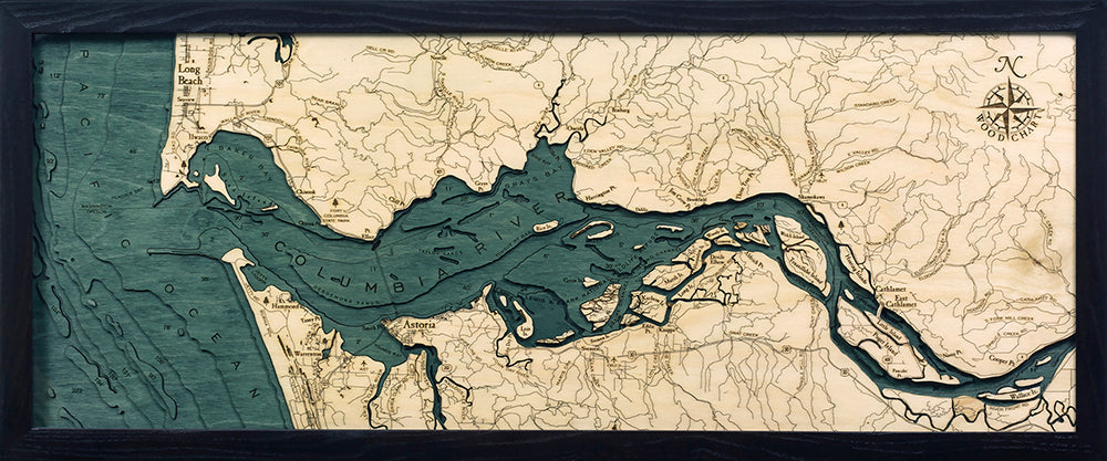 Columbia River Mouth Wood Chart Map