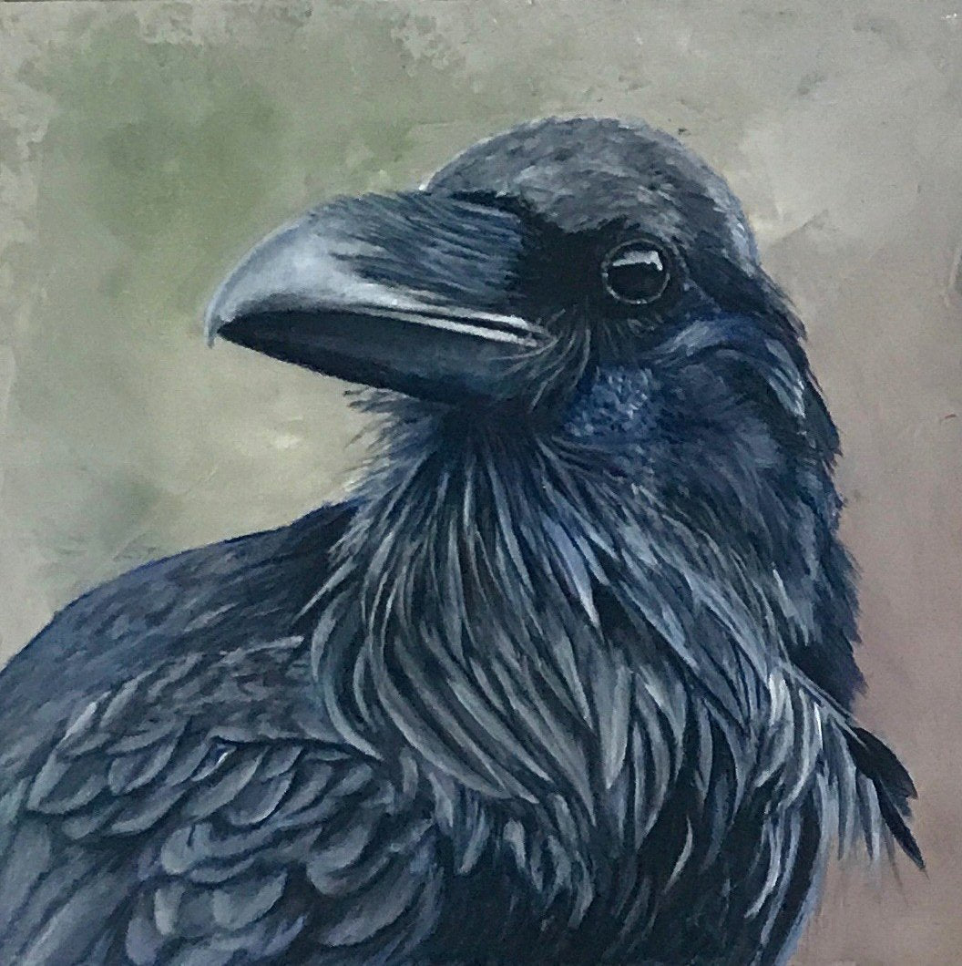 Crow #8, Original Oil Painting