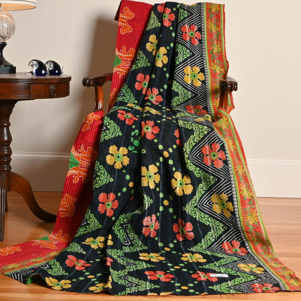 Gabrielle's Garden Kantha Throw