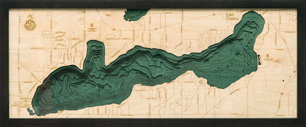 Lake Geneva Wood Chart Map