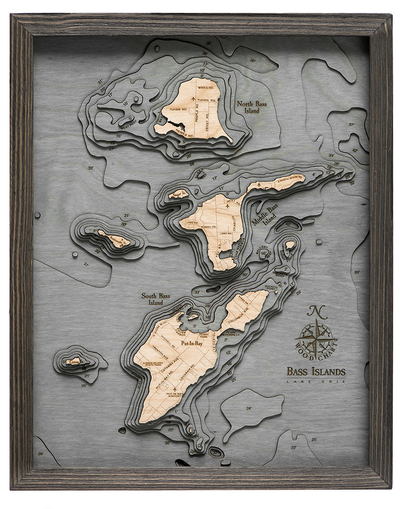 Bass Islands & Put-in-Bay Wood Chart Map