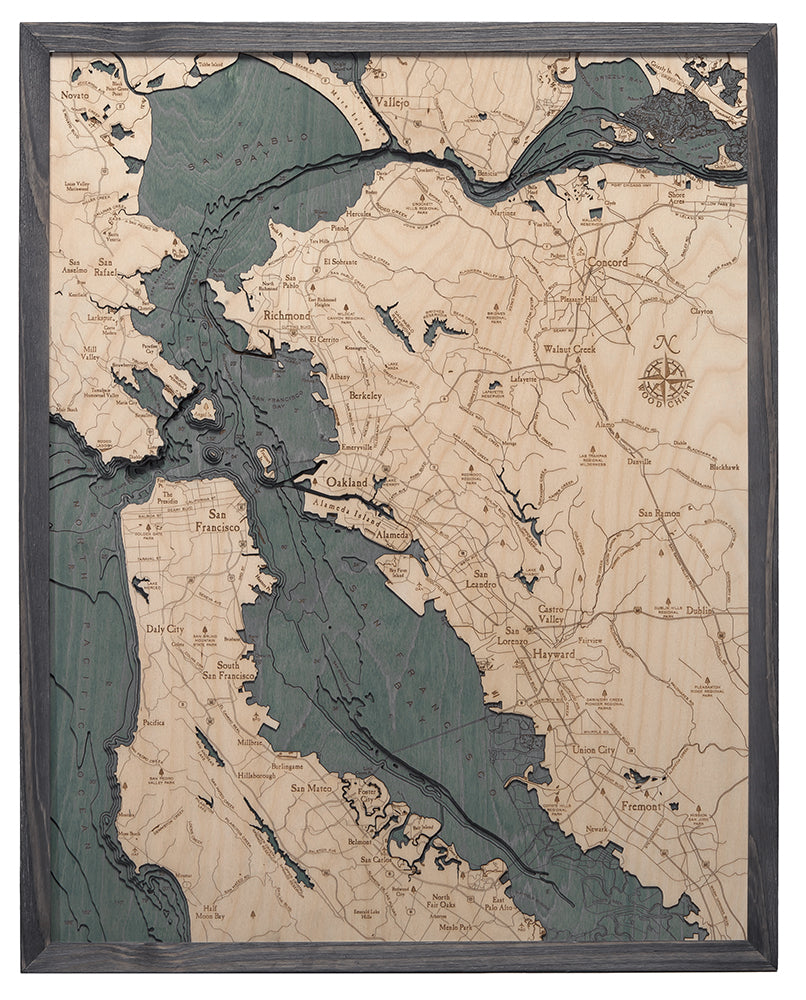 San Francisco Bay Area Large Wood Chart Map Automated bike counter locations map. anthi frangiadis