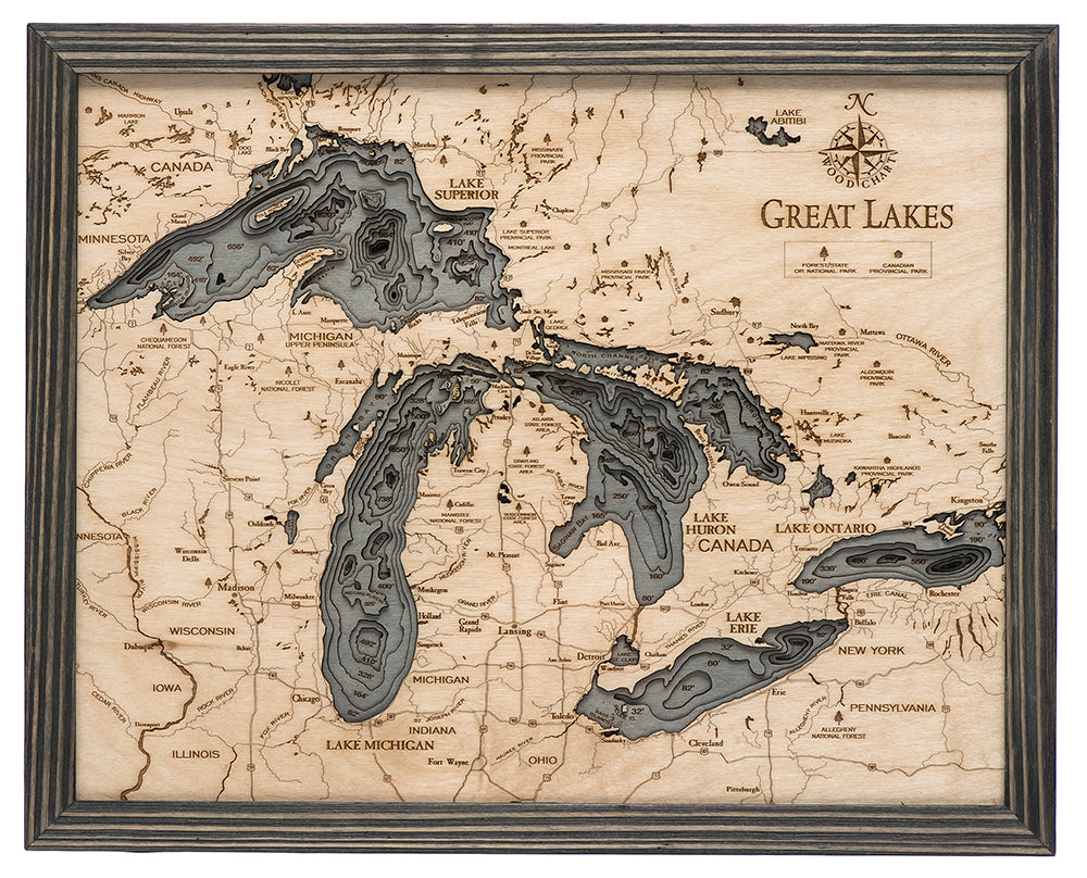 Great Lakes Small Wood Chart Map