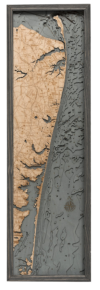 New Jersey North Shore Wood Chart Map