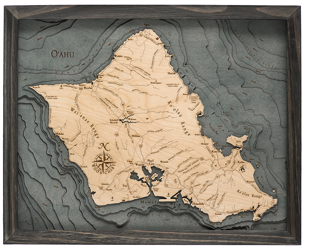 Oahu Wood Chart Map