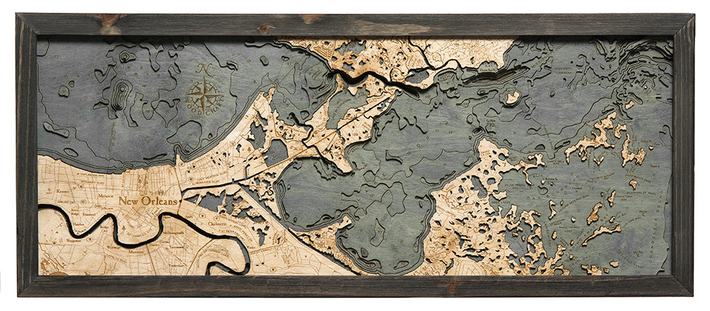 New Orleans Wood Chart Map